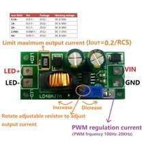 72W 1-3A DC 6V 9V 12V 24V 36V 48V Einstellbare Konstante Strom LED fahrer Modul MCU IO PWM Controller Board