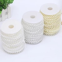 5mlot imitation pearl beads line chain trim pearls for crafts diy wedding bride bouquet decoration jewelry findings accessories
