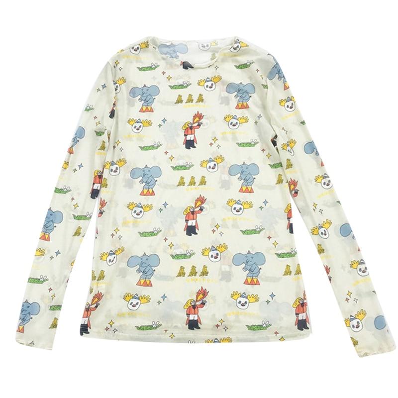 Summer New Design Women Mesh T-shirts Sweet Cartoon Print Ladies Tshirts Translucent Tee Shirt Tops