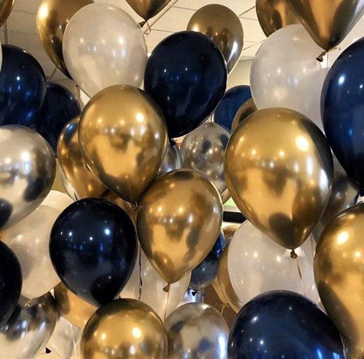 20pcs Metal Gold Silver Balloons Ink Blue Latex Balloon Wedding Birthday Party Decoration Festival Celebration Supplies Air Ball