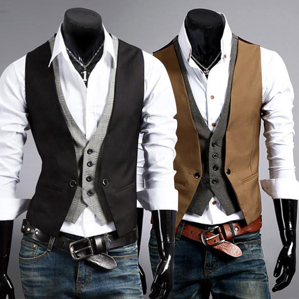 Chaleco Formal de hombre Chaleco de Color sólido de negocios de un solo botón gilet dos piezas falso cuello en V Casual s-lm chalecos para hombre