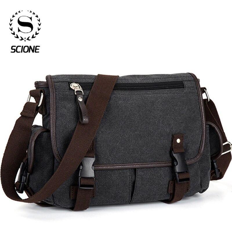 SCIONE-حقيبة ساعي قماشية عتيقة للرجال ، حقيبة كتف غير رسمية متعددة الوظائف ، حقيبة سفر للرجال