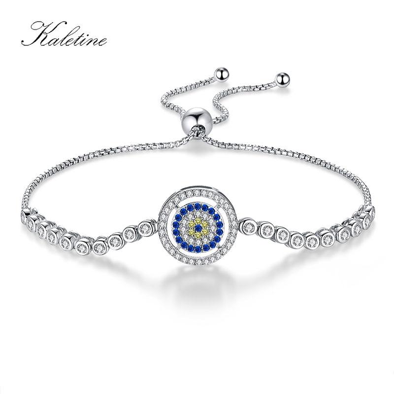 KALETINE Solid 925 Silver Bracelet Adjustable Beads Evil Eye Blue Cubic Zirconia Tennis Bracelets For Women Mens Jewelry KLTB015