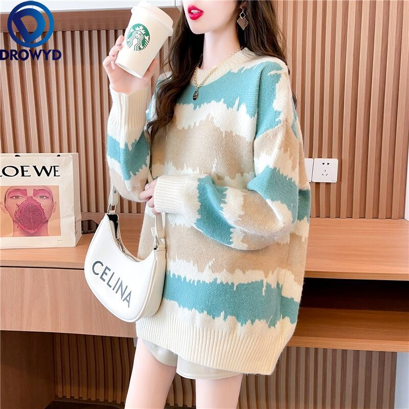 aelorxin 2017 women sweaters and pullovers thick autumn winter casual full sleeve o neck fashion women sweater girls sweaters 2021 Autumn Winter Fashion Knitted Striped Sweater Women Casual Pullovers Sweaters Loose Warm Jumper Streetwear O-neck Sweater