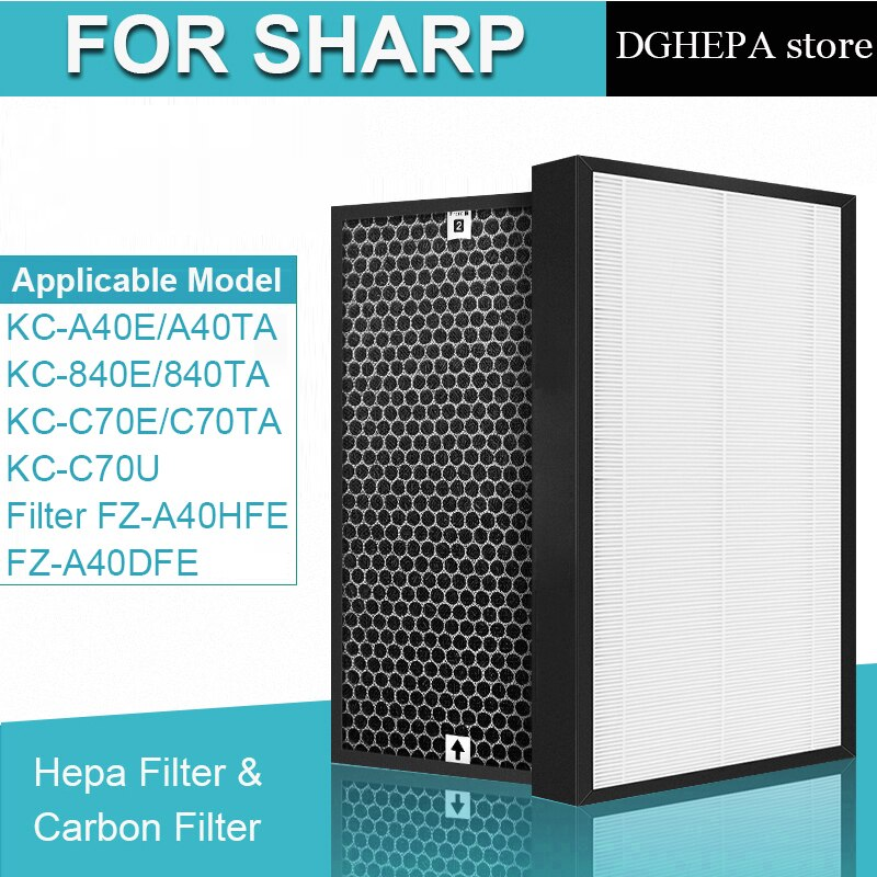HEPA Filter FZ-A40HFE and Actived Carbon Filter FZ-A40DFE for Sharp KC-A40E KC-840E KC-C70E KC-C70U Air Purifier parts hepa carbon filter fz d50hfe fz d50dfe for sharp kc d40 kc g40 kc d50 kc g50 kc e40 kc f40 kc e50 kc f50 air purifier