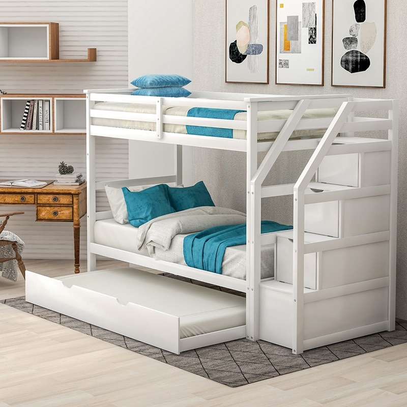 خشب متين سرير بطابقين للأطفال الخشب الصلب التوأم على سرير بطابقين التوأم مع صندوق ودرج