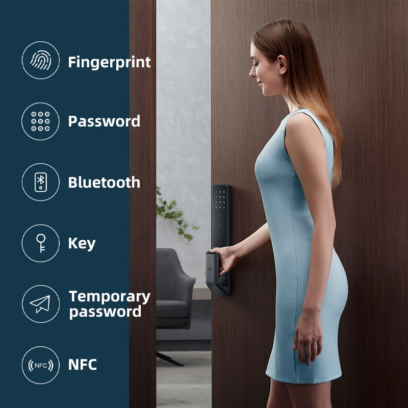 For Mi home Automatic Smart Door Lock Fingerprint Lock Password NFC Phone Unlock Work with Mihome Smart Linkage with Doorbell