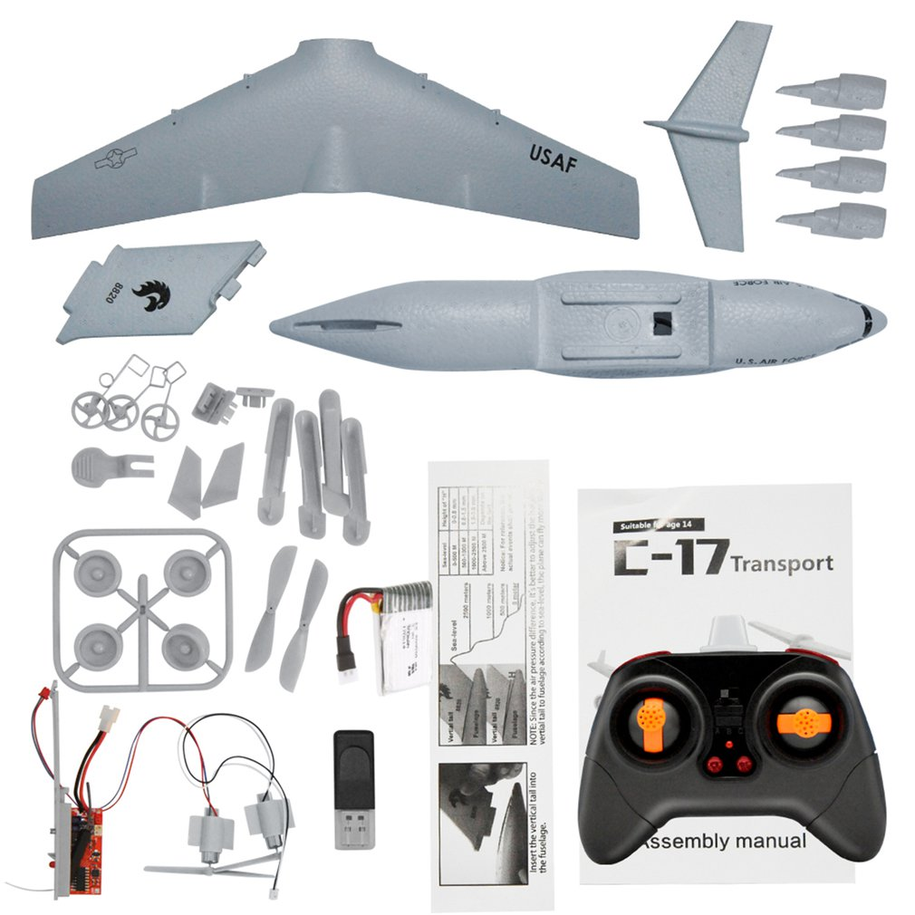 C17 RC Drone DIY Aircraft Transport Aircraft 373mm Wingspan EPP RC Drone Airplane 2.4GHz 2CH 3-Axis Aircraft for Children Toy enlarge