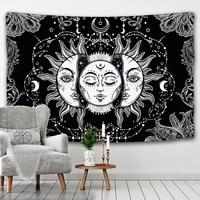Гобелен с мандалой, белый, черный, солнце и гобелен с Луной, настенный подвесной гобелен, гобелен в стиле хиппи, украшение для спальни одеяло