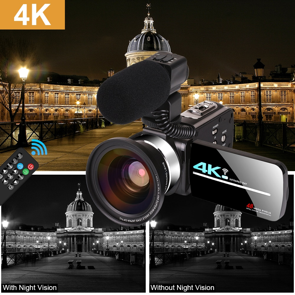 Vertical Shooting 4K UHD Video Camera Live Streaming for Youbute Vlogging Touch Screen Night Vision