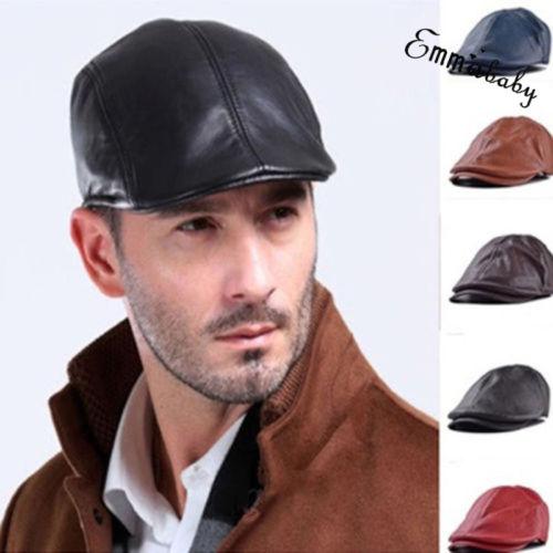 Bonnet de couro vintage para homens, chapéu estilo boina