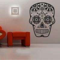 Autocollant mural tete de mort  etiquette decorative  amovible  a la mode  pour la maison et le salon