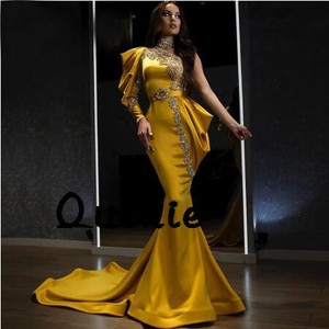 Old Yellow One Sleeve Evening Dresses Satin Silver Lace Special Occasion Party Dress robe soiree Prom Gown Custom Made Plus