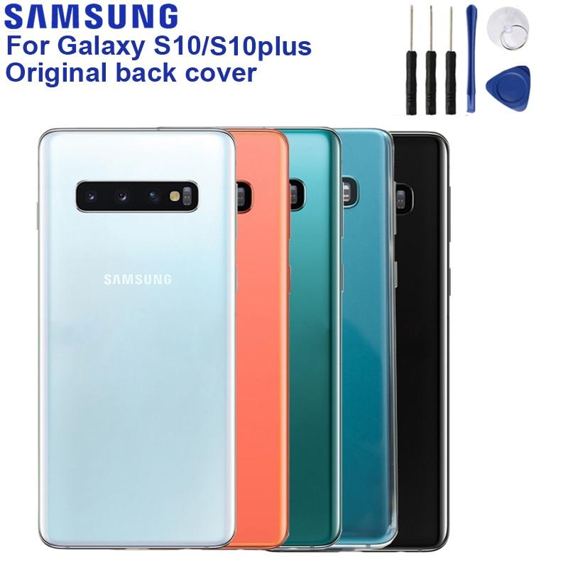 Capa traseira para samsung galaxy, para modelos galaxy s10 SM-G9730 s10 plus SM-G9750 s10 + s10e, peças de reparo e caixa armação de lentes