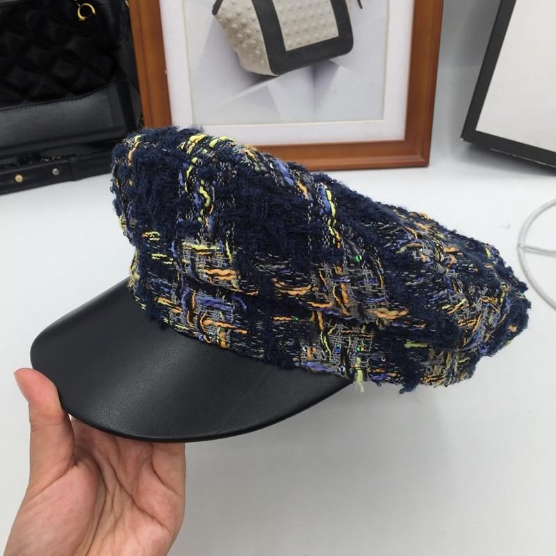 الربيع و الخريف فترة و جديد صغيرة الحلو نمط تويد الحياكة الطلاب كاب جلدية الطنف مثمنة قبعة
