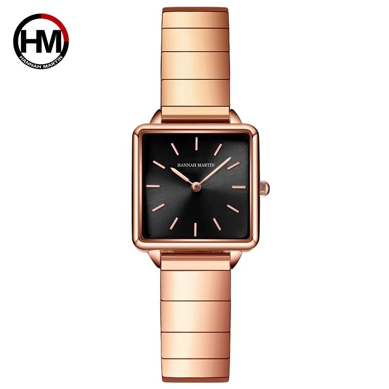 ساعة كوارتز يابانية غير رسمية للنساء ، ساعة يد مربعة ، تصميم جديد ، عصرية ، لون ذهبي وردي ، شحن مجاني