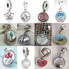 NEW 100% 925 Sterling Silver Summer Charming Beach Park Heart Pendant Charm Fit Diy Women Bracelet Original Fashion Jewelry Gift