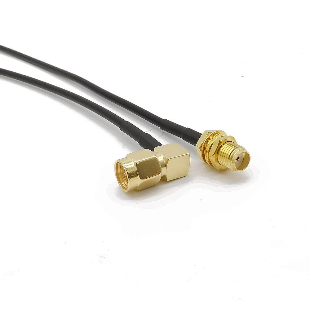 ALLISHOP mamparo hembra SMA a SMA macho de ángulo recto Cable RF RG-174 WiFi cable de extensión de antena 7 CM-1 M