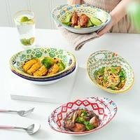 bohemian ceramic bowl 9 inch double ear yuanbao bowl salad bowl microwave oven rice roasting bowl ceramic cutlery
