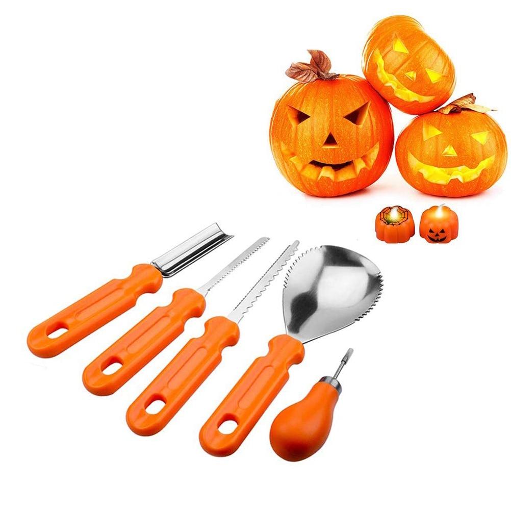 5 Pcs Halloween Pumpkin Sculpting Kit Carving Tool with Plastic Handle Stainless Steel Halloween Pumpkin Carving Tool Set