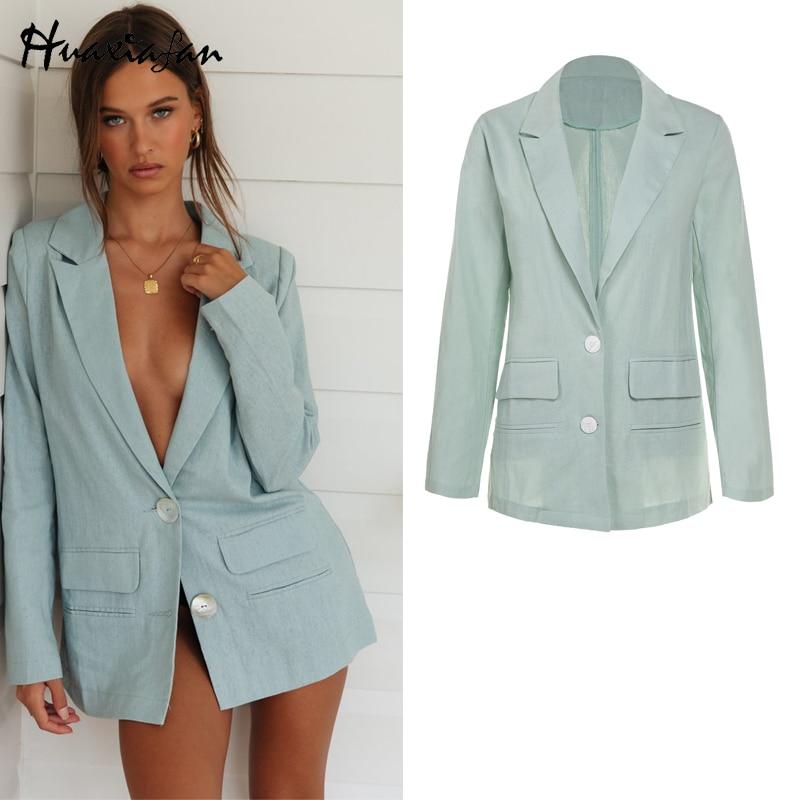 Huaxiafan blazer clássico sólido senhora do escritório das mulheres jaquetas de escritório manga longa casaco usar botão retro feminino básico blazers