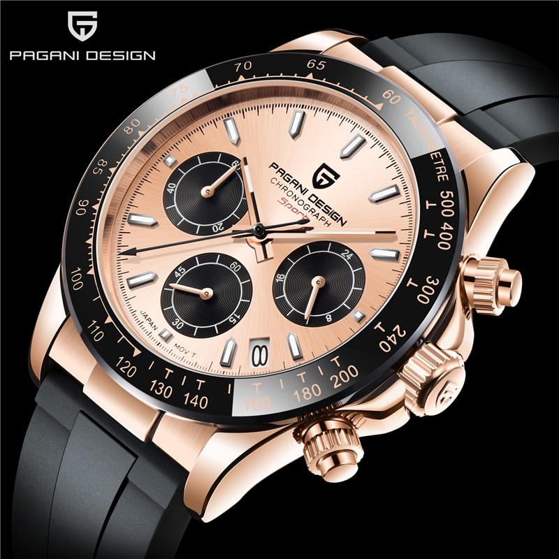 PAGANI DESIGN Top Brand New Men Quartz Wristwatch Luxury Sapphire Glass Sports Watch Rubber Strap Chronograph Watch Men Relogio