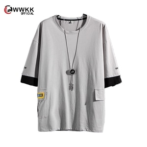 WWKK Men Japanese Streetwear Tshirt 2020 Color Blcok Harajuku Pockets Korean Cotton T Shirts Hip Hop Oversized T Shirt Plus Size