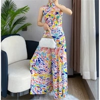 2021 summer new miyake fold fashion comfortable printed vest wide leg pants suit temperament was thin two piece in stock