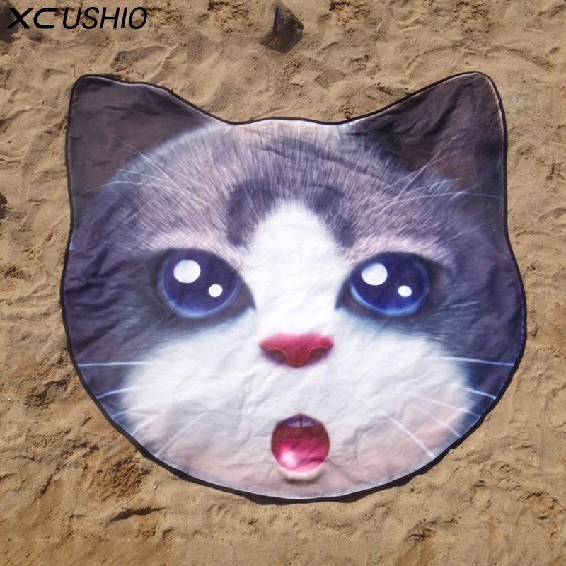 XC USHIO creativo microfibra lindo gato perro cerveza forma Toalla de playa patrón vivo 3d estampado Bikini cubrir la manta de Picnic junto al mar