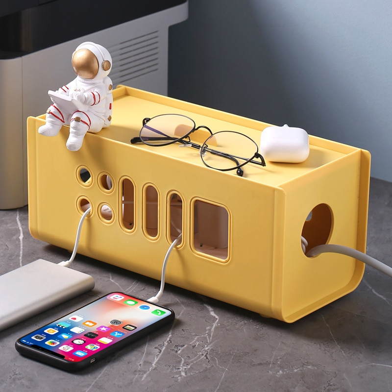 New Plastic Wire  Storage Boxes Power Line Porous Storage Cases Junction Box Cable Tidy organizer Box Household Necessities power cord wire centralized storage box green