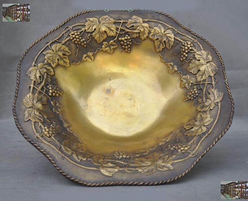 Decoração de casamento china latão chinês cobre frutas videira folha compota estátua placa bandeja prato