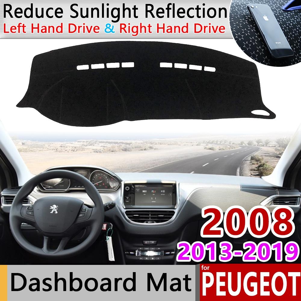 Para Peugeot 2008 2013 ~ 2019 Anti-Slip Mat panel de sombrilla salpicadero proteger alfombra del coche 2014 accesorios 2015 2016, 2017, 2018,