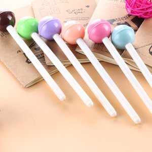 24 Pcs Stationery Cute Fresh Candy-colored Black Pen Lollipop Gel Pen Personality Sprouting Stationery Gifts Stationery