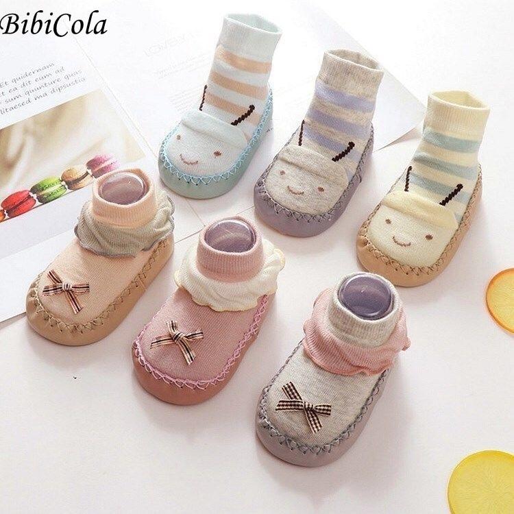 Baby Girls Cute Cartoon Non-slip Cotton Newborn Floor Socks Animal Pattern First Walker Shoes For Ba