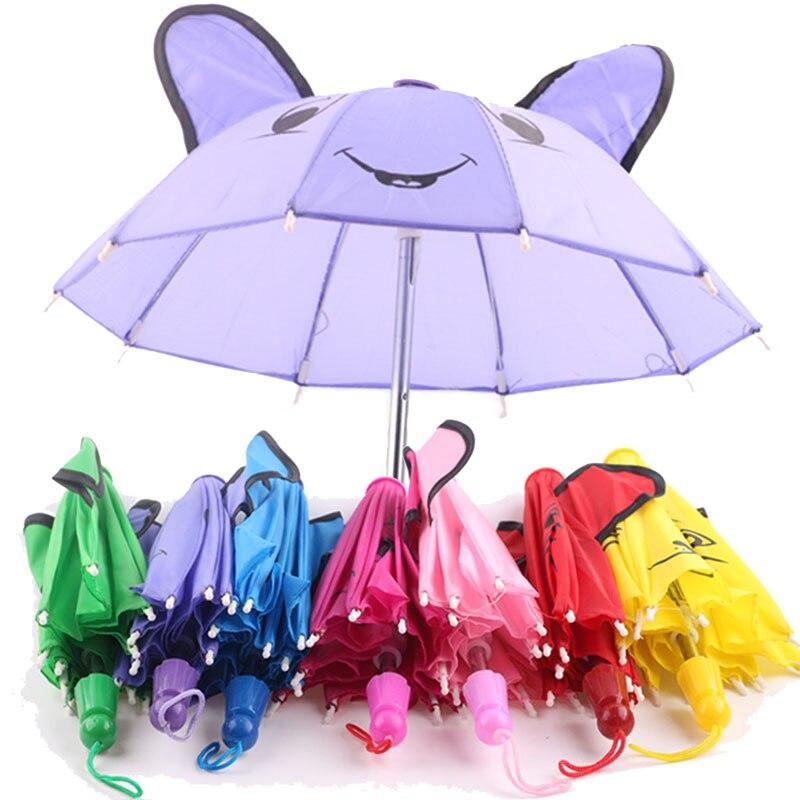 Милый узор и сплошной цвет зонт от солнца подходит 18 дюймов Америка и 43 см Born Baby Doll Одежда Аксессуары наше поколение подарок для девочки