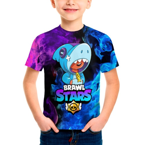 Детская футболка 3D BRAWL STARS LEON SHARK|Тройники| | АлиЭкспресс