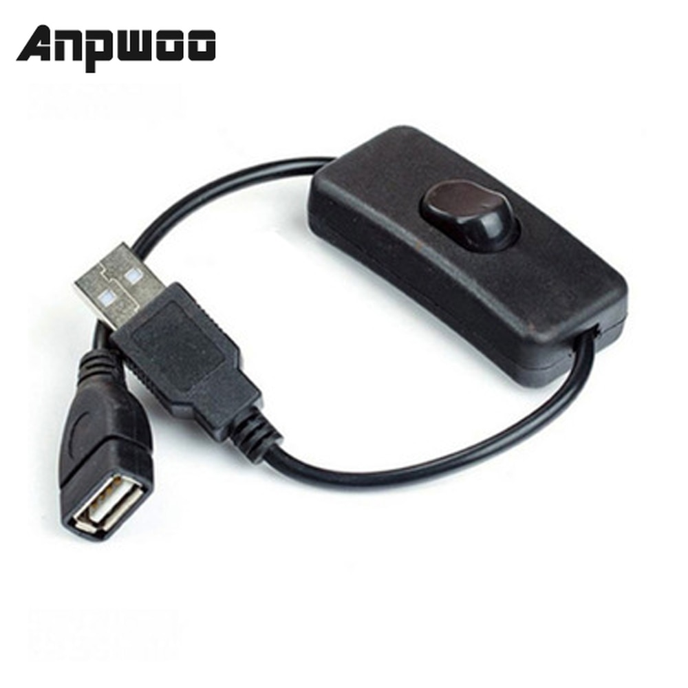ANPWOO 28cm USB Cable with Switch ON/OFF Cable Extension Toggle for USB Lamp USB Fan Power Supply Line Durable HOT SALE Adapter