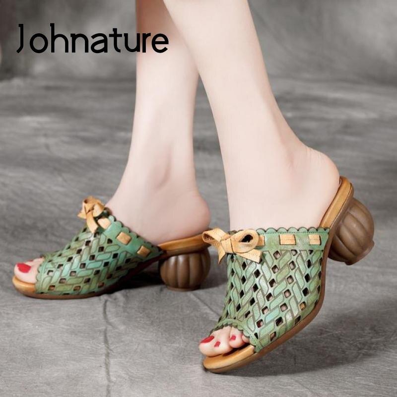 Johnature sapatos femininos chinelos de verão 2020 novo couro genuíno slides de costura fora usar estilo nacional lazer senhoras chinelos