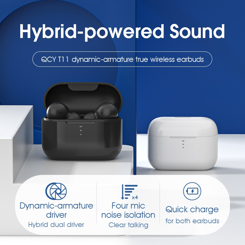 QCY T11 Dynamic-armature drivers earphone HiFi wireless headphone Bluetooth earbuds with 4 microphone HD call customizing APP enlarge