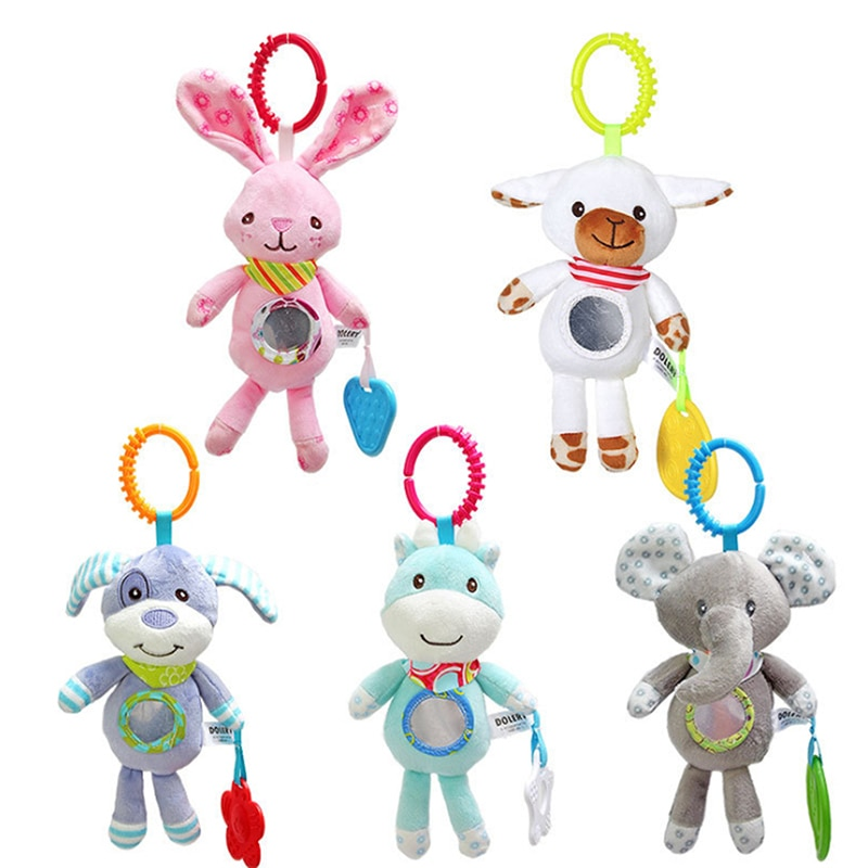 Baby Kids Rattles Toys Cotton Stroller Accessories Hanging Plush Toy Animal Clip Baby Crib Bed Hanging Bells Toys