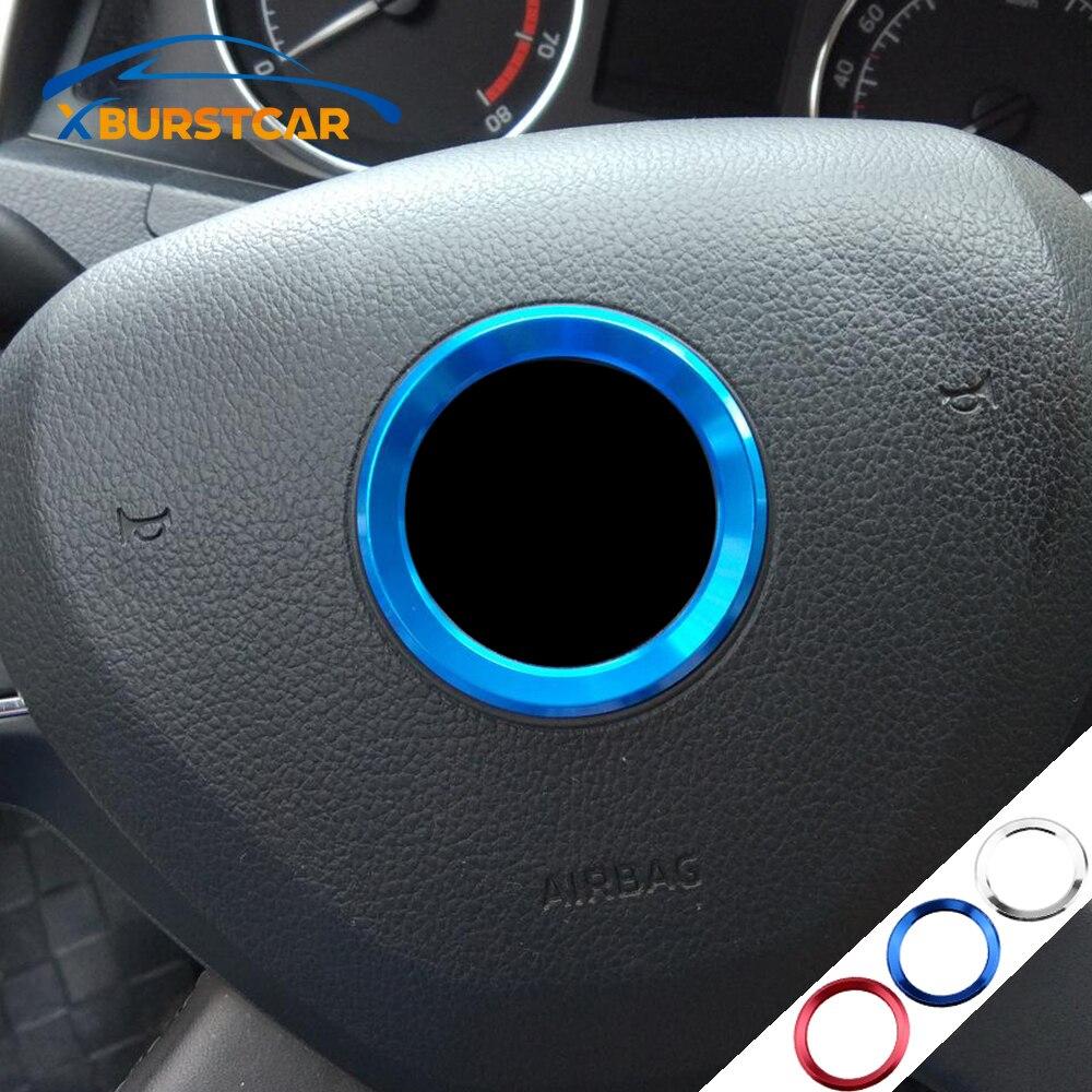 Estilo de coche Interior accesorios aptos para Skoda Octavia 2 A5 A7 rápido Fabia Superb volante Logo emblemas anillo pegatinas