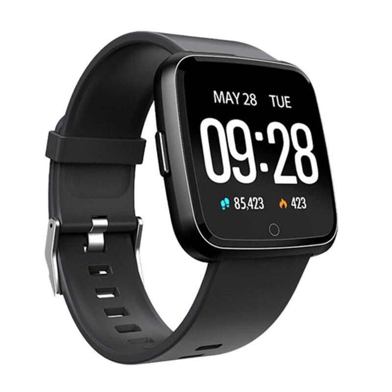 Caliente reloj inteligente 3C-Smartwatch Y7 Monitor de presión arterial de ritmo cardíaco Bt4.0 resistente al agua para hombres y mujeres largo tiempo de espera (negro)