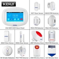 KERUI     systeme dalarme domestique K52  wi-fi  GSM  avec grand ecran tactile 4 3  TFT  detecteur de mouvement de securite  DIY