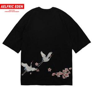 Crane Embroidery T Shirt Men Oversized Loose Casual Short Sleeve Tshirts Summer Hip Hop Harajuku Fashion Tops Tees