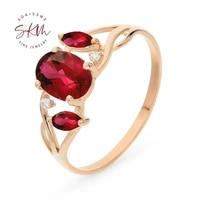 skm vintage garnet rings for women flower rings 14k rose gold engagement wedding rings designer luxury fine jewelry