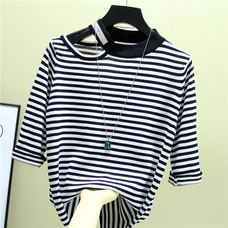 summer Fashion The New Hollow out stripes O-neck Half sleeve sweater bottoming shirt women's loose thin  pullover