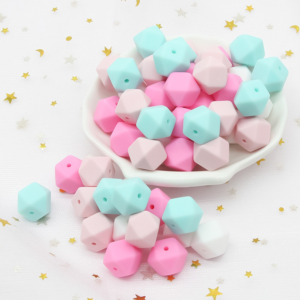 Cute-Idea 300pcs 17mm Silicone Hexagon Beads Teether Baby Chewable Product Toy BPA Free Pearl Sensory soft Teething Pacifier toy