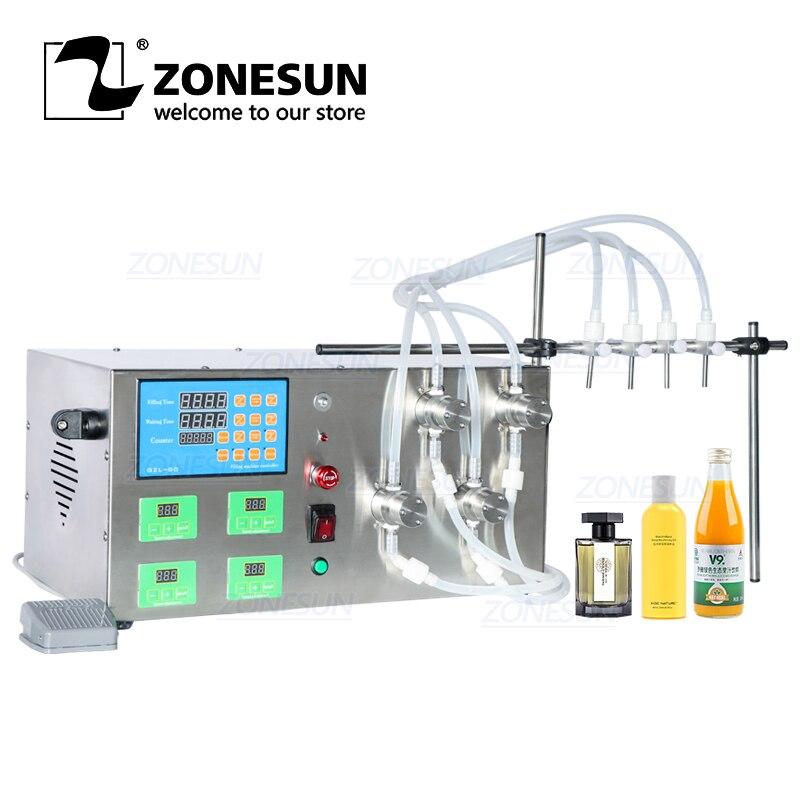 ZONESUN ZS-YTMP4S شبه التلقائي أربعة رؤساء زيت طبيعي الحبر التجميل السائل زجاجة ماء المغناطيسي مضخة ماكينة حشو