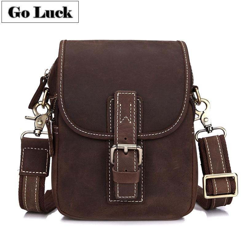 Hand-made Genuine Leather Men Crossbody Shoulder Messenger Bags Cowhide Men's Waist Belt Pack For Cell Phone Wallet