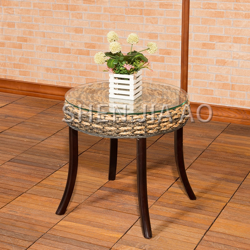 1PC Creative Casual Rattan Tea Table Hand-woven Rattan Coffee Table Home Decor Rattan Furniture Rattan Furniture Tea Table